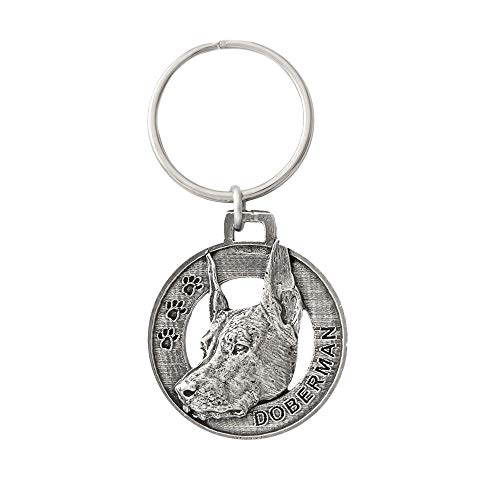 Doberman Dog Pewter Key Chain, Key Fob, Key Ring, Gift, D070KC