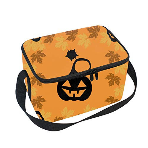 Insulated Lunch Bag Tote with Detachable Adjustable Shoulder Thermal Waterproof Black Halloween Pumpkin Large Capacity Outdoor Picnic Lunch Box for Teens Adults