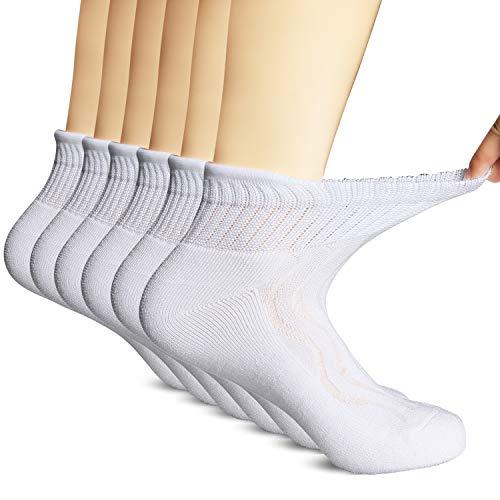 MD 6 Pairs Non-Binding Men's Moisture Wicking Cushion Quarter Bamboo Diabetic Socks 10-13 White