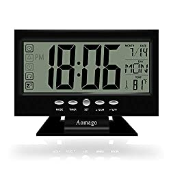 Aomago Digital Alarm Clock Battery Operated for Kitchen, Desk Clock Office LCD Large Display with Temperature Backlight, Snooze-Easy to Use for Kids, Teens, Seniors