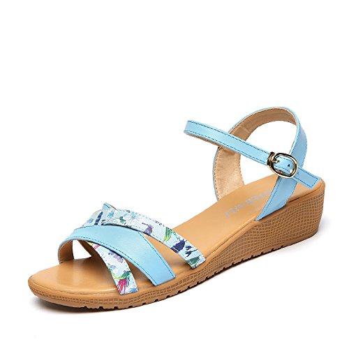 Moda Mujer verano sandalias confortables tacones altos,39 Silver blue prints