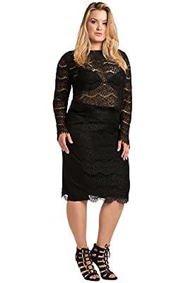 Standards & Practices Contemporary Curvy Women's Plus Size Ponte Lace Pencil Skirt