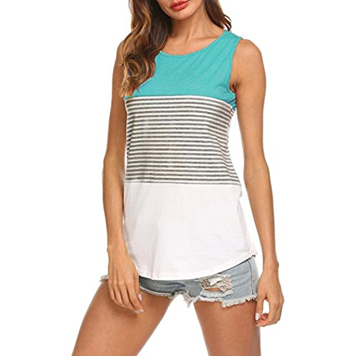 FEITONG Woman's Casual Round Neck Sleeveless Striped Summer