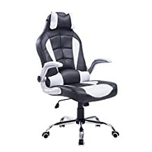 HOMCOM Racing Executive Gaming Office Chair Adjustable Recliner High Back with Pillow (Black/White)