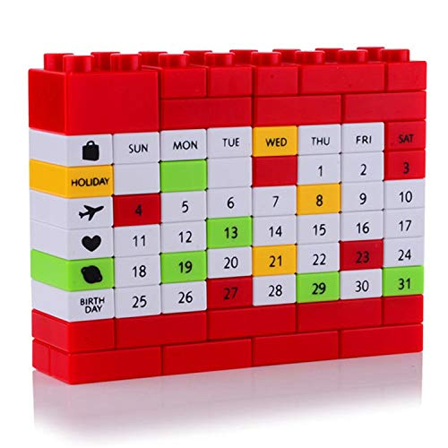 Chipsua - Calendario creativo para computadora, diseño de puzle con bloque de plástico para manualidades, ideal para...