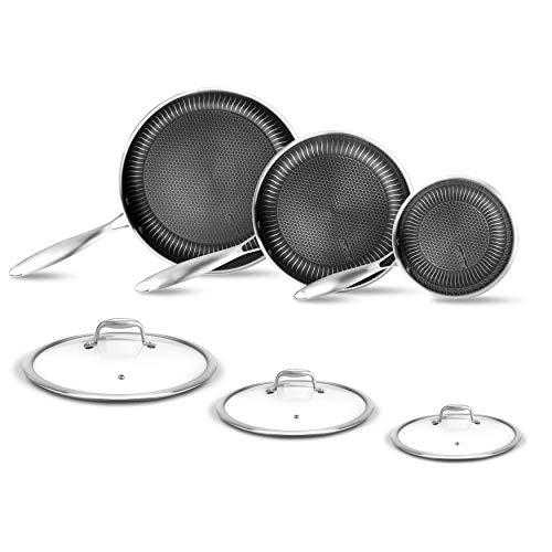 6-Piece Cookware Set Stainless Steel – Triply Kitchenware Pans Set Kitchen Cookware w/ DAKIN Etching Non-Stick Coating…