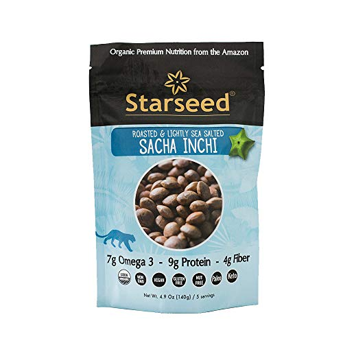 Starseed Organic Sacha Inchi seeds, gluten-free, keto, and paleo friendly snack, 4.9oz Bag, 5 Servings (Roasted Sea Salt)