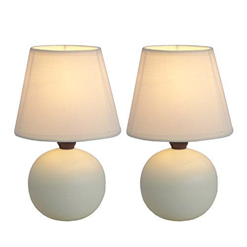 Simple Designs LT2008-OFF-2PK Mini Ceramic Globe Table Lamp 2 Pack Set, Off-White White Ceramic Lamps