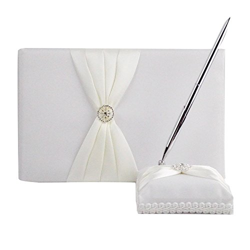 Guest Book and Pen Set Holder, Hardcover with Stain Ribbon and Rhinestone Decorations for Rustic Wedding Ceremony Party Favor-Ivory, 72 Pages