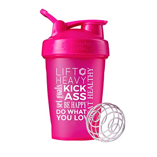 Do What You Love Blender Bottle Shaker Cup, 20oz Classic Blender Bottles, Protein Shakers (Pink - 20oz)