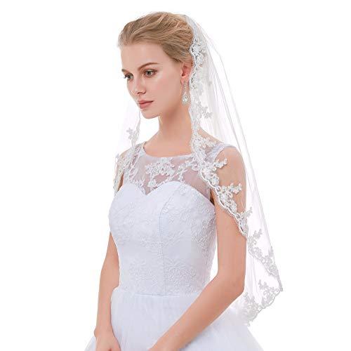 (100% Real Single Layer Vintage Lace Edge Bridal Veils Veil White Ivory Wedding Veil Ivory)