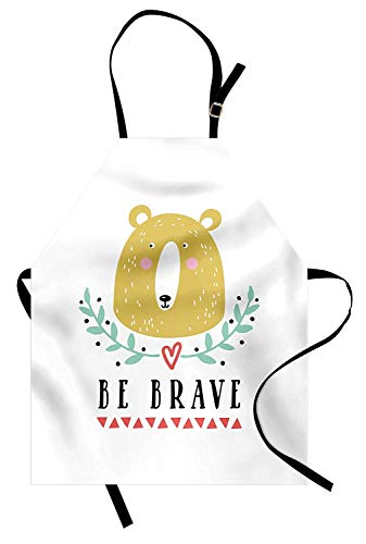 Be Brave Apron, Be Brave Message with a Bear Green Leaves Heart and Triangles Doodle for Nursery, Unisex Kitchen Bib Apron with Adjustable Neck for Cooking Baking Gardening, Multicolor ()