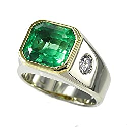 14k White Gold Men's Emerald and Diamond Ring