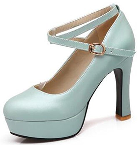 74f7464e75d3 IDIFU Womens Dressy Buckle High Block Heels Platform Pumps Shoes With Ankle  Straps Blue tGBRSH