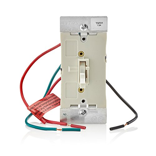 - Leviton TSF01-10T Toggle Slide Fan Speed Control, 1.5 A-120VAC @ 60Hz, Single Pole or 3-way, Light Almond