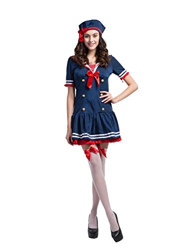 Honeystore Women's Adult Sailor Anchors Away Dress Halloween Cosplay (Plus Size Anchors Away Sailor Costume)