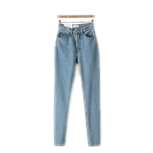 Las mujeres de cintura alta Denim Jeans Vintage Slim Mom estilo lápiz pantalones vaqueros de mezclilla para 4 estaciones Pale Blue