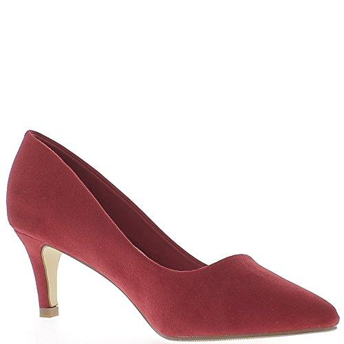 Escarpins pointus rouges à petits talons de 6 cm look daim