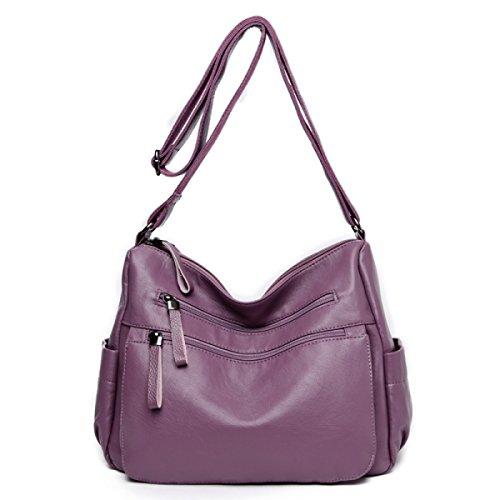 Bolsos De Hombro De Las Mujeres Bolso De Cuero Suave De La Manera Bolso Del Comprador Del Campus Del Ocio De Las Señoras Purple