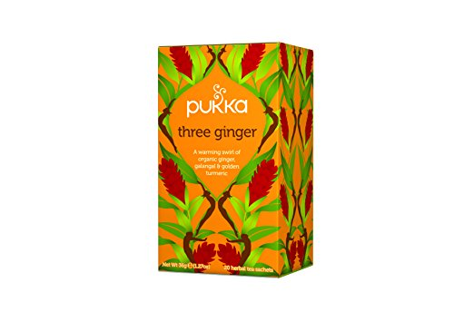 Pukka Organic Tea Caffeine Free, Three Ginger, 6 Count Organic Golden Ginger Tea