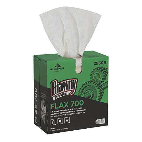 Brawny Industrial 29609 FLAX 700 Medium Duty Cloths, 9 x 16 1/2, White, Box of 94 (Case of 10 Boxes)