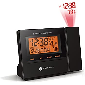 Ambient Weather RC-8427 Radio Controlled Projection Alarm Clock with Indoor Temperature