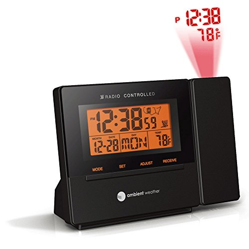 (Ambient Weather RC-8427 Radio Controlled Projection Alarm Clock with Indoor Temperature)