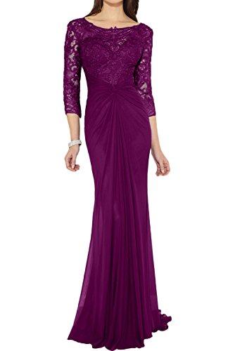 Bildfarbe 4 Arm 3 Ivydressing Brautmutterkleid Partykleid Damen Elegant Spitze Falte Etui Applikation Rundkragen Chiffon lang Abendkleid q0wqZa