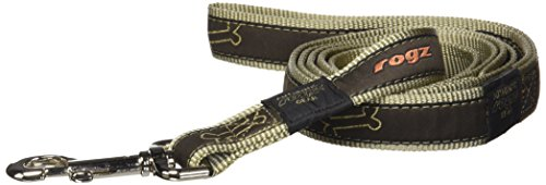 Rogz Fancy Dress Extra Large 1-Inch Armed Response 6-ft Long Fixed Dog Lead, Bronze Bone Design