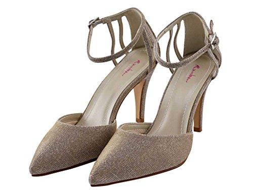 Rainbow Club Kennedy - Gold Metallic Pointed Toe Bridal Court Shoe 3tyXSilIQ