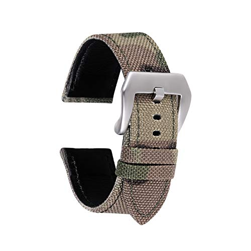 Lorica Strap - Straps Guy 22mm Cordura Canvas Quick Release Watch Band Strap, Lorica Leather Inner Liner, Stainless Steel Buckle Ballistic Nylon Camouflage Pattern in Light Green Camo