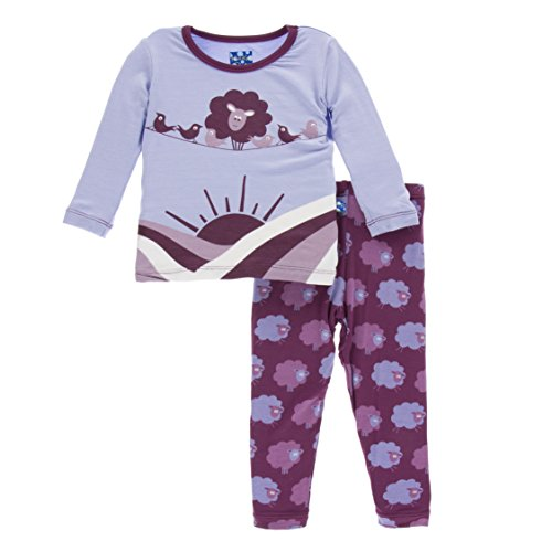 KicKee Pants Print Long Sleeve Pajama Set in Grapevine Sheep, 8Y