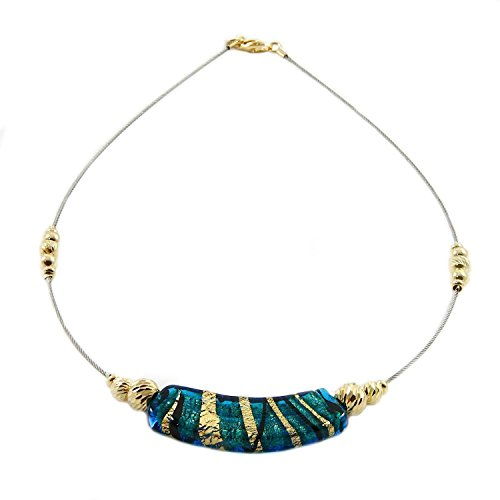 Woman's choker with Murano glass bead, 925 silver 24k gold plated spheres mounted on stainless steel cable. CAD027-Y01