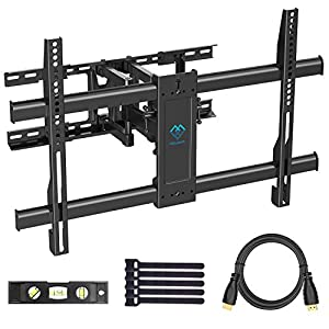 """PERLESMITH TV Wall Mount Swivels, Tilts, Extends - Full Motion TV Mount with Articulating 16"""" Arm Fits 16"""", 18"""", 24"""" Wood Studs - VESA 400x400mm for 37-55 Inch LED LCD Flat Screen Plasma TVs"""
