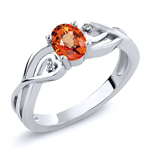 Gem Stone King 0.56 Ct Oval Orange Sapphire White Diamond 925 Sterling Silver Ring (Size 7)
