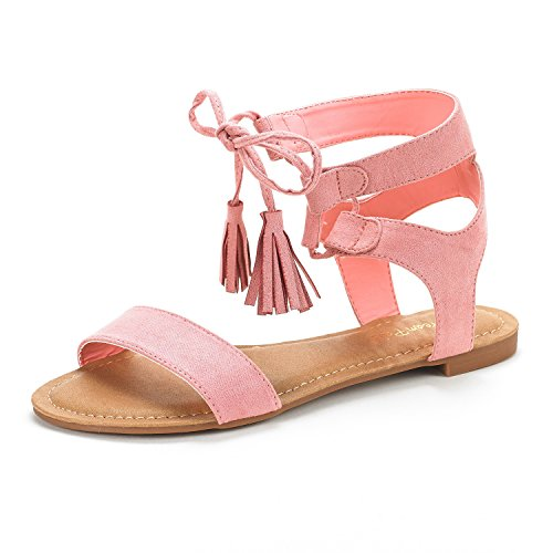 DREAM PAIRS Women's Bowtie Pink Ankle Strap Gladiator Flat Sandals Size 9 M US