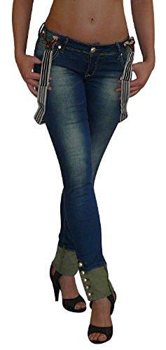 S&LU Total angesagte Damen Hosenträger Jeans Stretch Used / Röhrenjeans in den Größen 32-40 Used T2bULtn