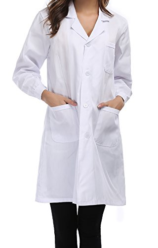 Taylor Eddie Women's White Full Length Lab Coat With Three Pockets