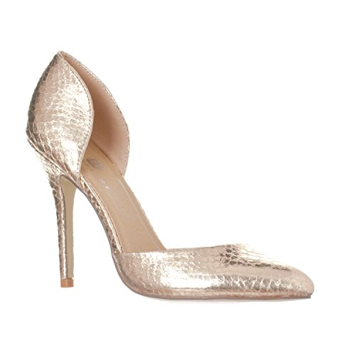 Riverberry Women's Nora Pointed Toe, Slip On D'Orsay Pump Heels, Gold Snake, 7
