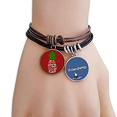 ProDIY Pineapple Stand Tall Quote Chritsmas Friendship Bracelet Leather Rope Wristband Couple Set Estimated Price -