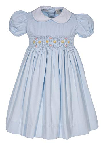 Girls Dress Hand Smocked Light Blue Flowers Easter -