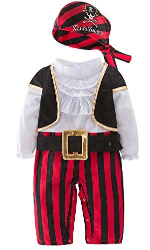 SGBB Baby Boys Pirate Captain Infant Cotton 4 Pcs Romper Costume Set (2T-3T, -