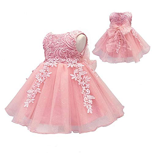 Boys In Pink Dresses - LZH Baby Girls Birthday Christening Dress Baptism Wedding Party Flower Dress for Newborn(5801-Pink,18M