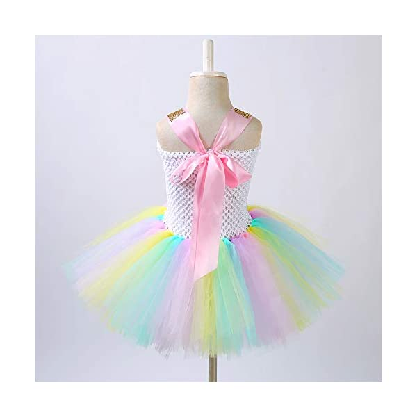 Unicorn Costume for Girls Dress Up Clothes for Little Girls Rainbow Unicorn Tutu with Headband Birthday Gift 5