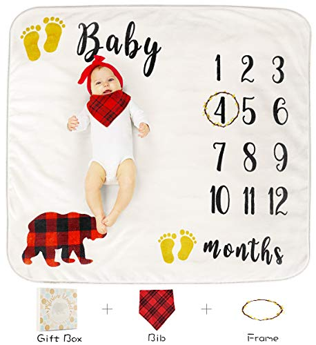 Baby Monthly Milestone Blanket for Boy Girl, Organic Thick Fleece Personalized Photography Background Blankets, Large for Mom Newborn Baby Shower Gifts + Bib + Frame (Bear, 47x43in) ()