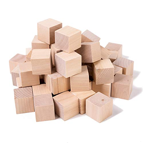 (Xena Wooden Cubes 50 Pack Block Set Wood Square Sturdy Stacking Blocks Photo Arts Crafts DIY Projects 1 Inch)