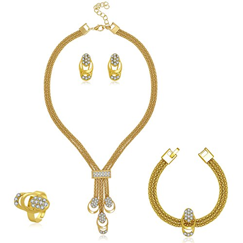 - MOOCHI 18K Gold Plated Africa Royal Style Strands Chain Necklace Earrings Ring Bracelet Jewelry Set