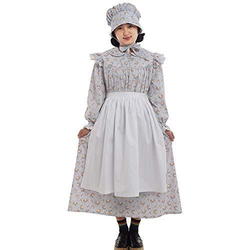 - GRACEART Pioneer Girls Dress Colonial Prairie Costume 100% Cotton (6 colors option) (US-12, Grey)