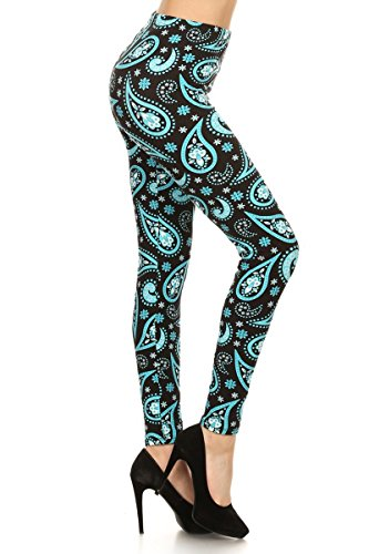 R621-OS Aqua Paisley Print Fashion Leggings ()