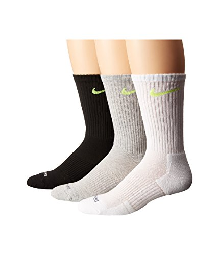Nike Dri FIT Cushion Crew Athletic Socks 3 Pack Grey Heather/Black/White/Volt Medium 6 8